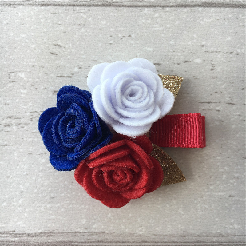 Felt Rose Cluster Hair Clip - Patriotic Mix
