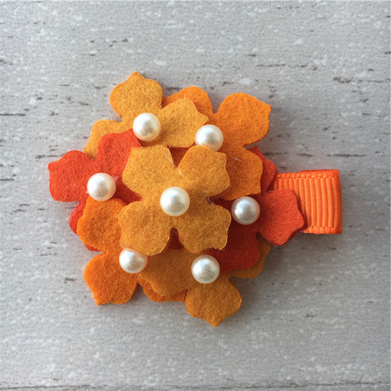 Felt Hydrangeas Clip - Orange Mix