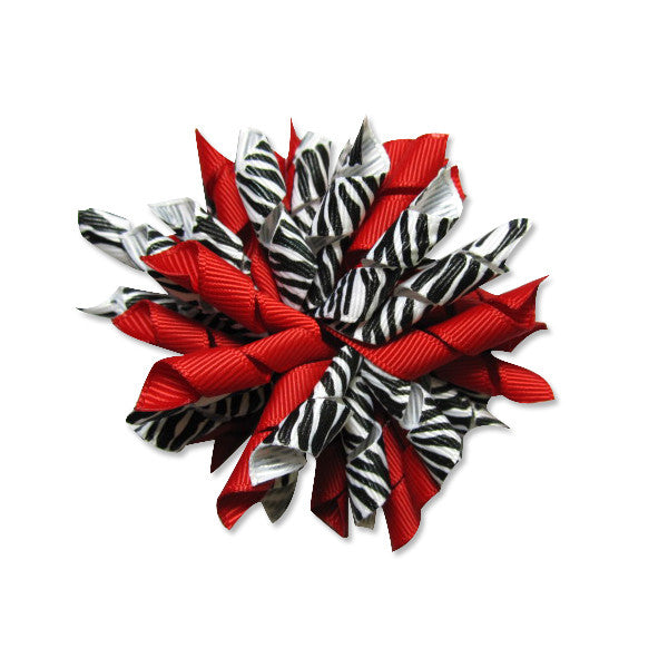 Zebra Red Korker Hair Bow
