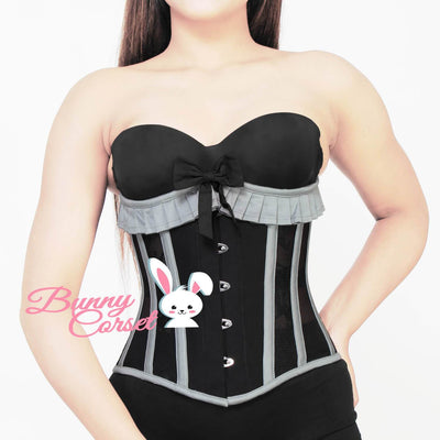 Black Corset, Underbust Cotton Corset, Corset with Lace Frill