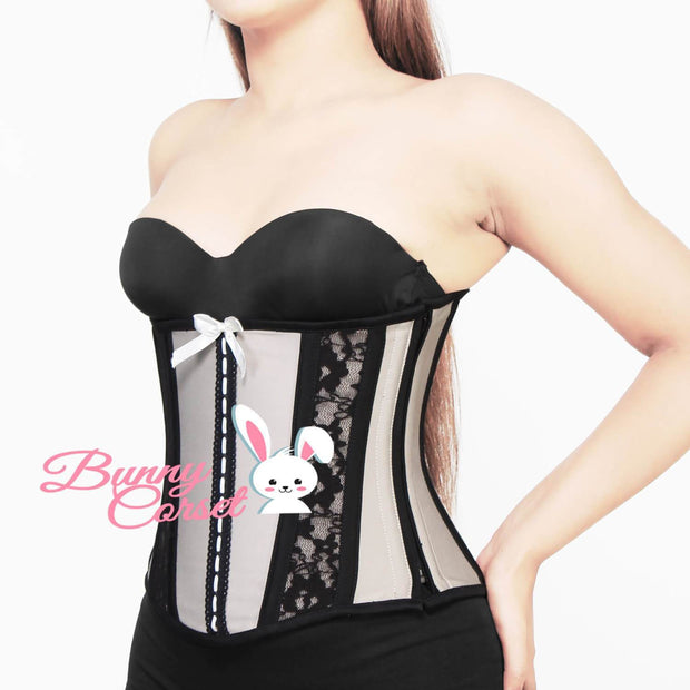 Cotton Corset, Lace Overlay Corset, Corset With Bow