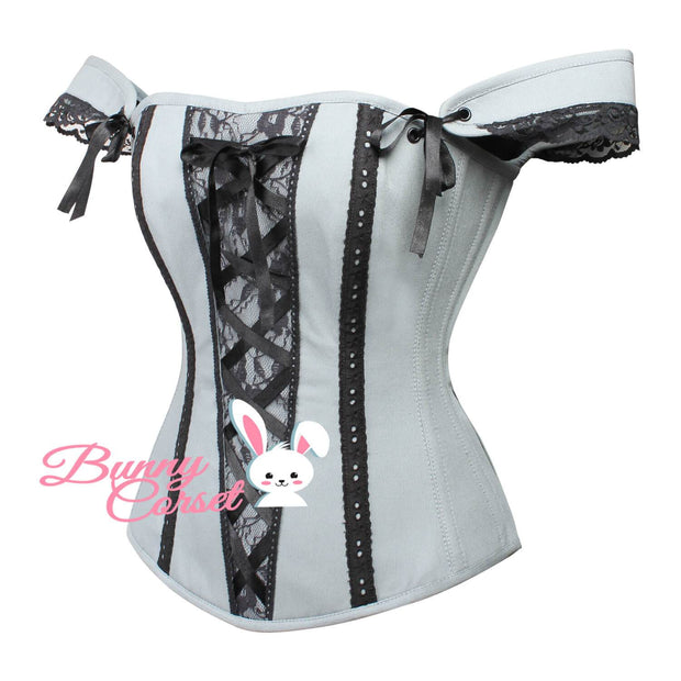 Megan Overbust Cotton Corset With Sleeves