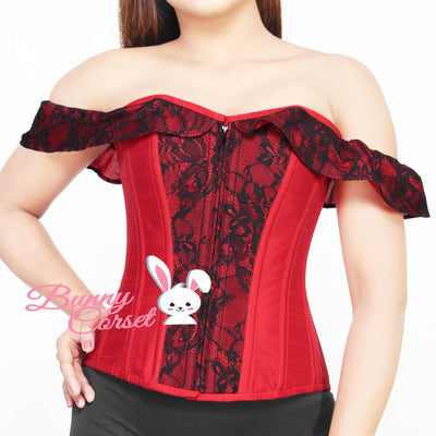 Overbust Corset, Red Cotton Corset