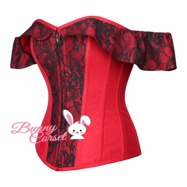 Ripley Overbust Cold Shoulder Red Cotton Corset