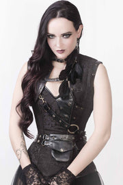 Renata Custom Made Black Brocade Steampunk Corset with Shrug