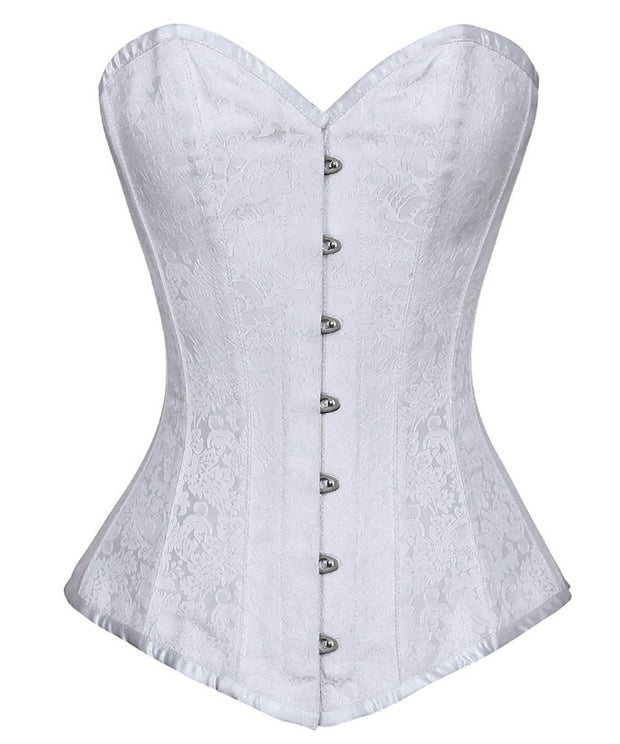 White Brocade Gothic Overbust Corset