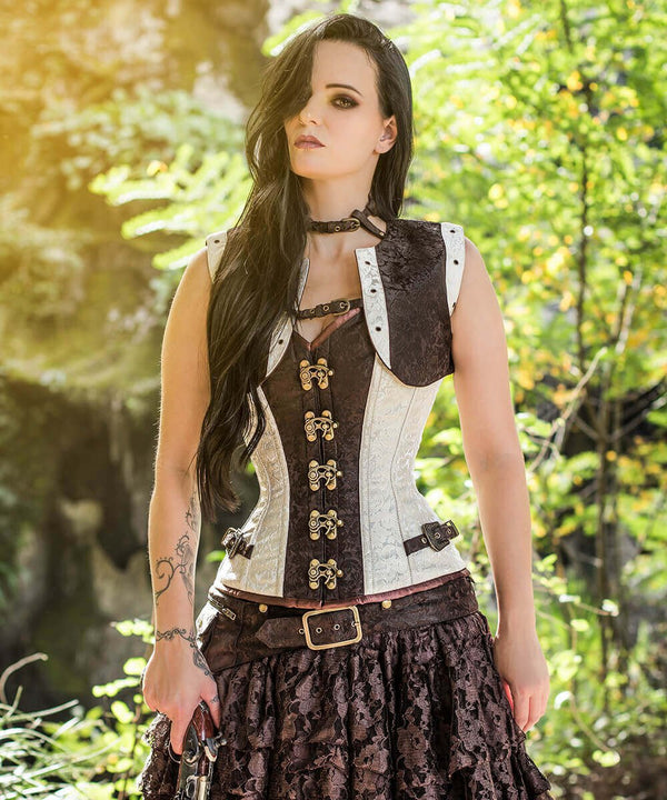 Corset Deal Brocade Corset with Shrug & Clasp Opening - Steampunk Overbust Corset