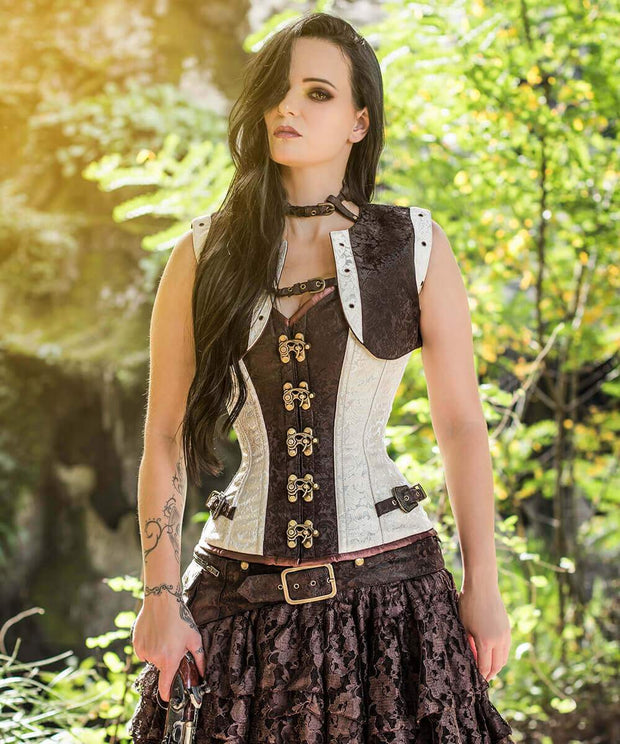 SOLD OUT - Brocade Steampunk Overbust Corset with Shrug