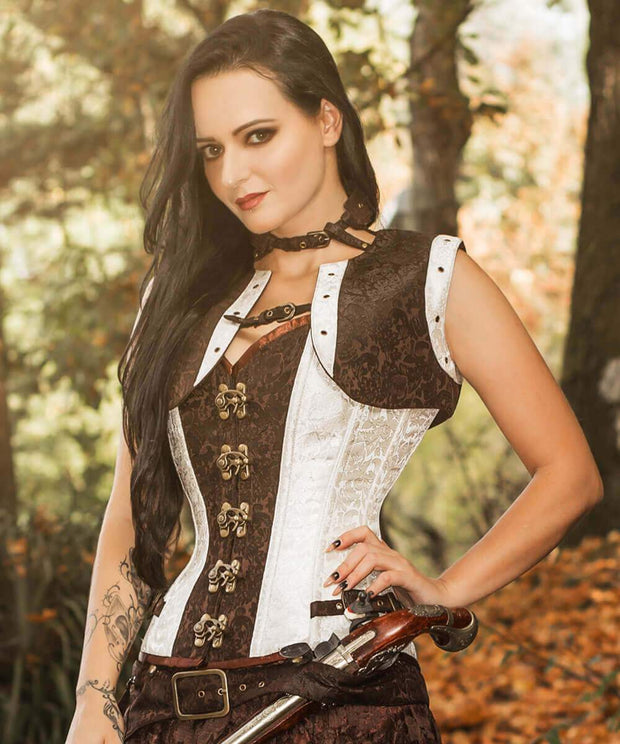 Brocade Steampunk Overbust Corset with Shrug