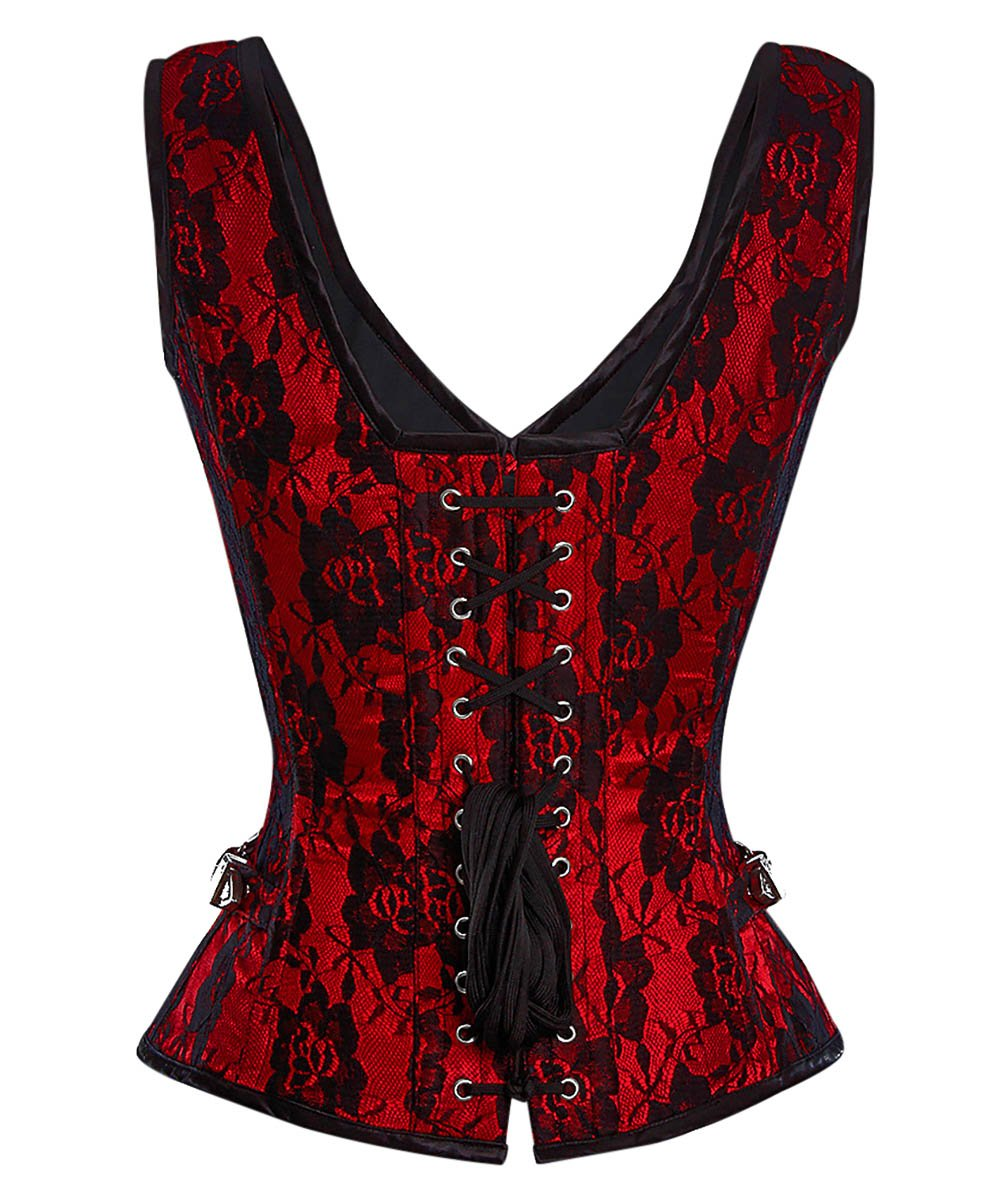 Jazlynn Gothic Steel Boned Overbust Corset with Buckles