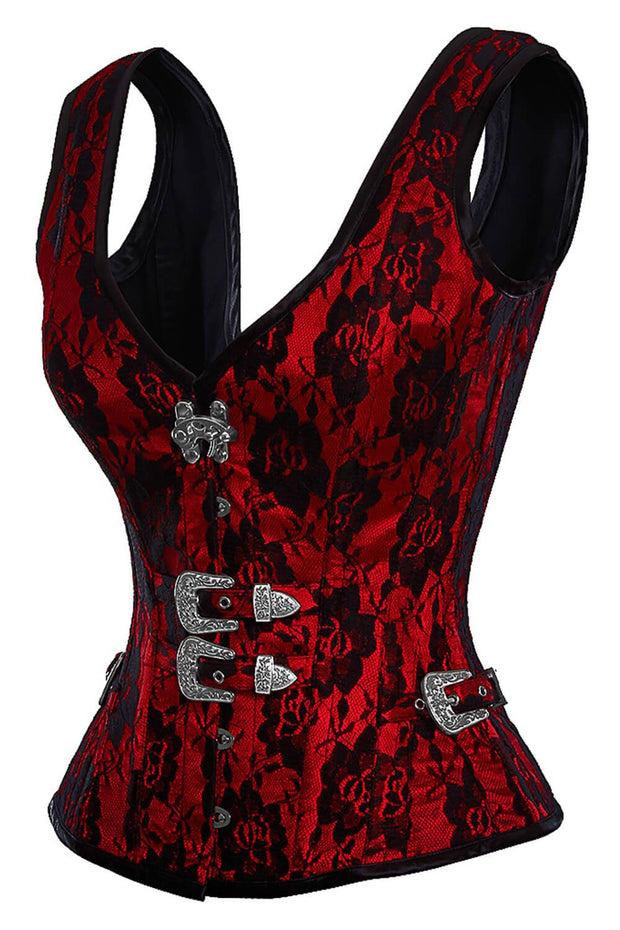 Red Satin Corset, Gothic Corset Online, Vested Corset