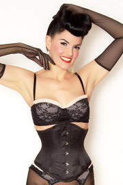 Tiana Custom Made Black Satin Underbust Waist Cincher