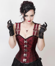 Gothic Steel Boned Classic Corset with Shoulder Straps