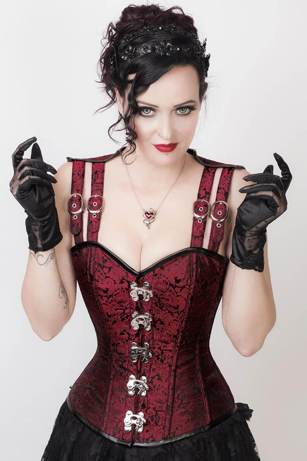 Maroon Steampunk Corset, Overbust Corset, Strap Corset
