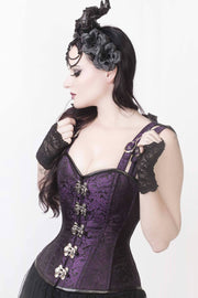 Eartha Brocade Gothic Overbust Corset with Shoulder Straps