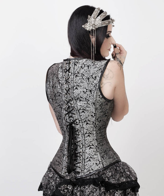 Silver Overbust Corset with Shoulder Straps