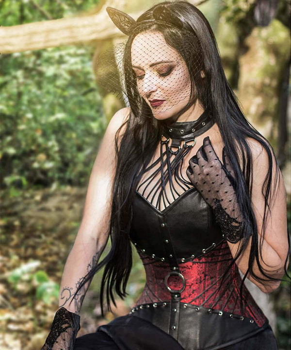 Liesei Gothic Overbust Corsets with Attached Neck Gear
