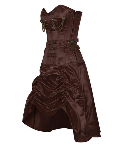 Danifa Steampunk Brown Gathered Corset Dress