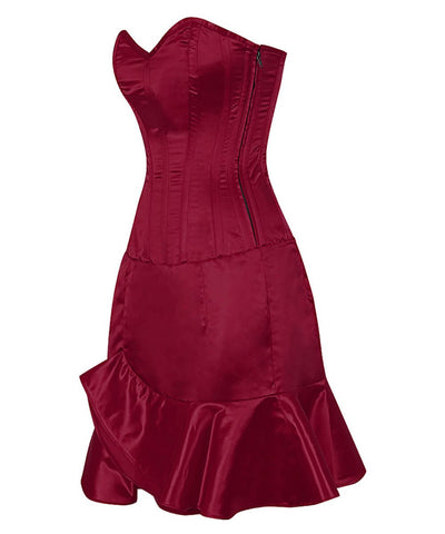 Philida Satin Corset Dress with Ruffle