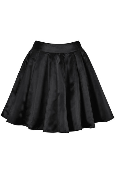 Danice Custom Made Black Pleated Flared Skirt
