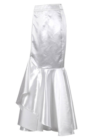 Elya White Long Skirt with Ruffle