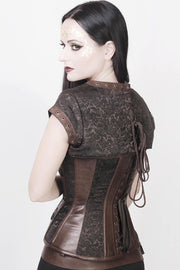 Iris Overbust Brown Steampunk Corset with Detachable Belt