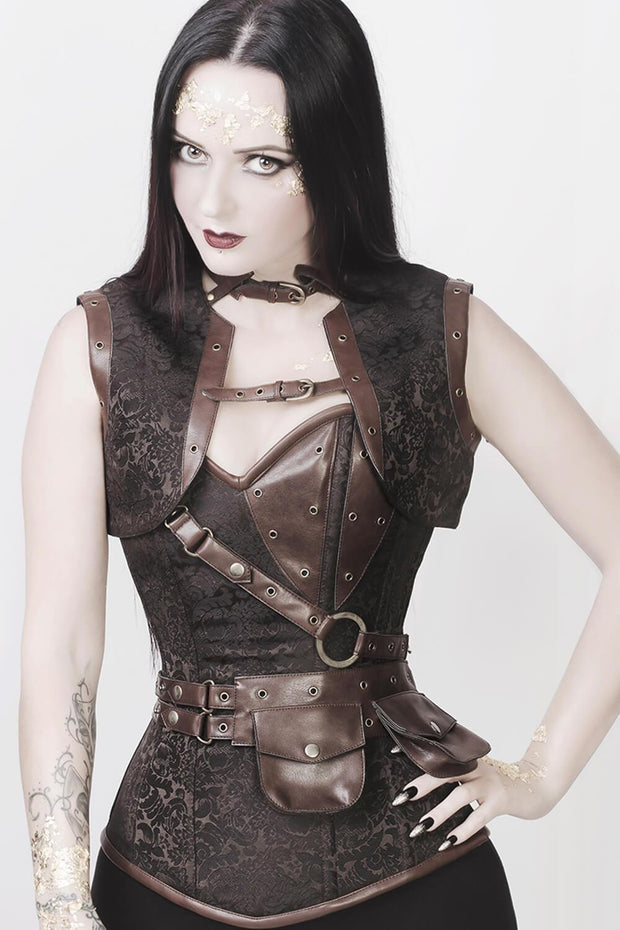 Alexa Custom Made Brown Brocade Steampunk Overbust Corset