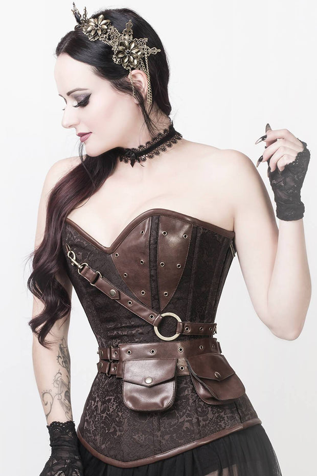 Steampunk Corset, Brown Corset, Corset with Pouch, Corset With Bolero