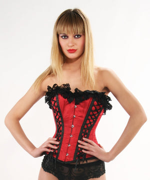 Nahla Burlesque Red Corset with Lace