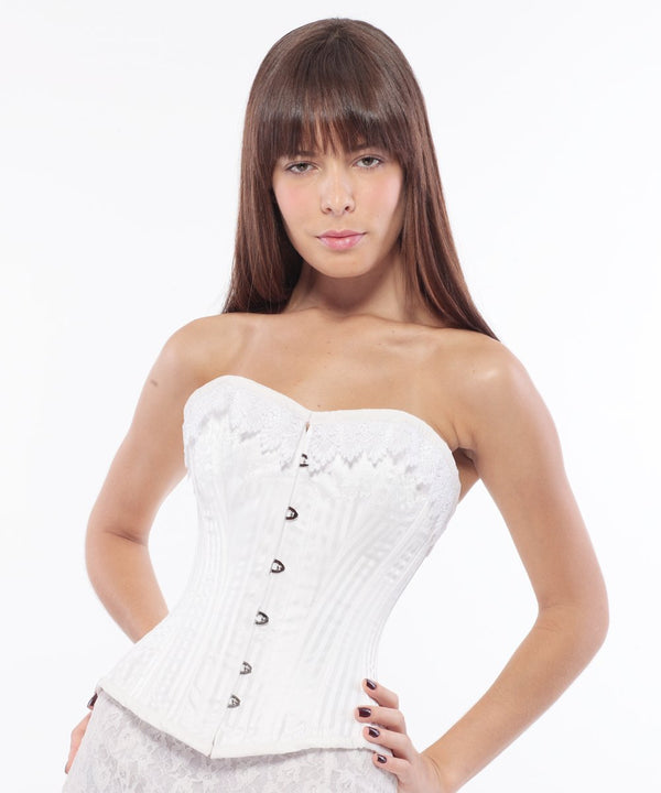 Keira Burlesque Overbust Corset in White Brocade