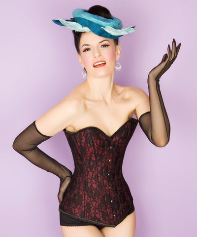 Vintage Goth Lilliana Satin Long Overbust Corset with Lace Overlay - VG LONDON LTD Corsets and Bustiers Shop
