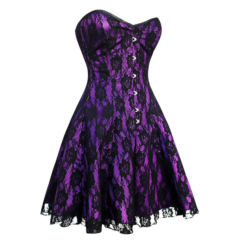Izzie Gothic Purple Lace Overlay Corset Dress