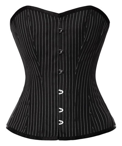 Vintage Goth Amora Pinstripe Overbust Corset - VG LONDON LTD Corsets and Bustiers Shop