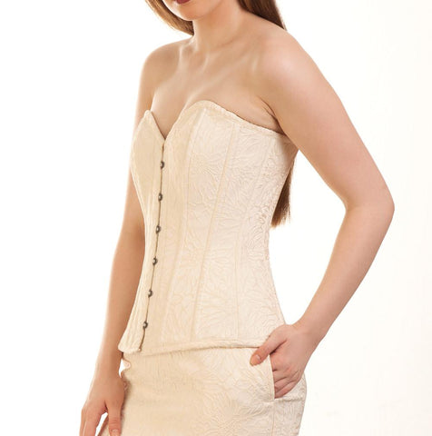 Denyse Brocade Plus Size Overbust Ivory Corset
