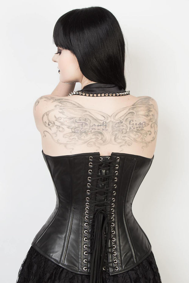 Edwardian Custom Made Long Line Leather Corset (ELC-401)