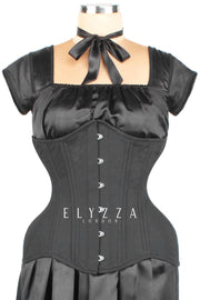 Black Cotton Custom Made Waist Training Corset (ELC-102)