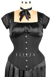 Steel Boned Black Cotton Corset (ELC-601)