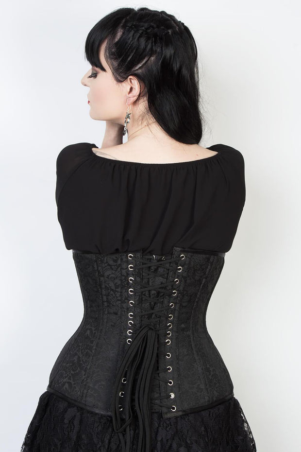 Waist Trainer Custom Made Black Underbust Brocade Corset (ELC-102)