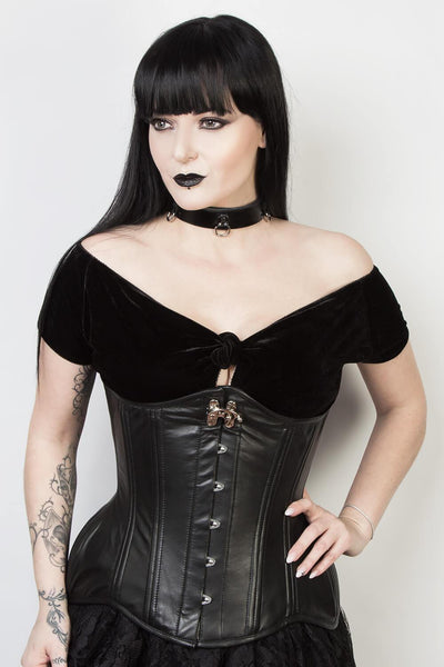 Black Leather Custom Made Waist Training Corset (ELC-102)