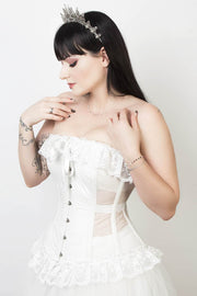 Mesh with Cotton Custom Made Burlesque Overbust Corset (ELC-401)