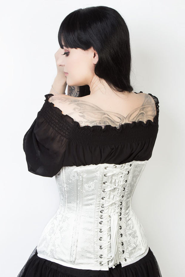 White Floral Brocade Custom Made Waist Training Corset (ELC-102)