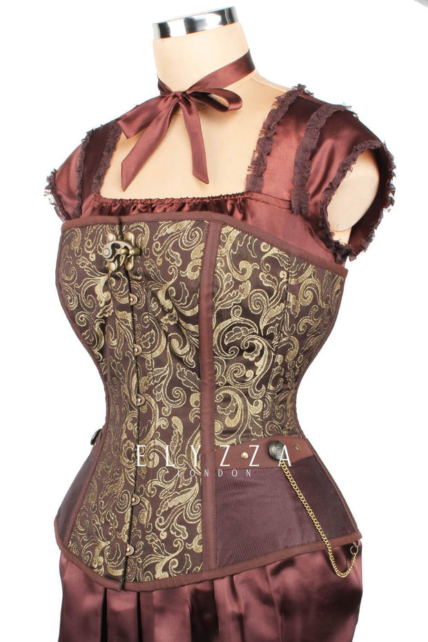 Steampunk Brocade Long Line Corset (ELC-401)