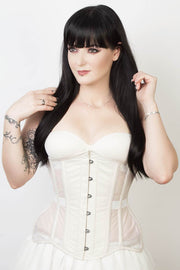 Mesh with Taffeta Custom Made Underbust Curvy Corset (ELC-102)