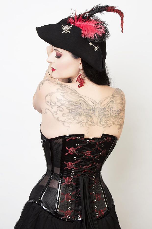 Mesh with Skull Brocade Custom Made Gothic Corset (ELC-501)