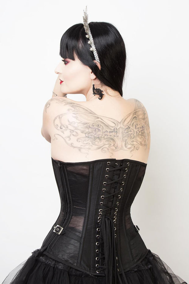 Edwardian Custom Made Gothic Black Mesh Corset (ELC-401)