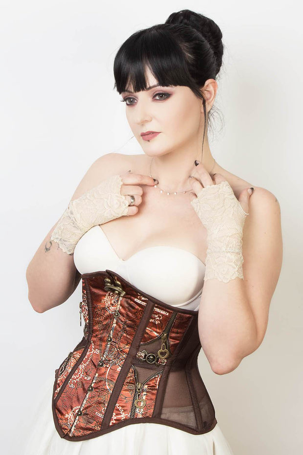 Mesh with Steampunk Print Satin Corset (ELC-501)