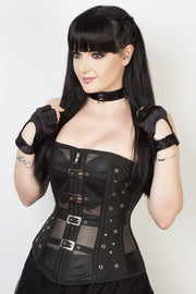 Gothic Custom Made Black Mesh Steel Boned Corset (ELC-401)
