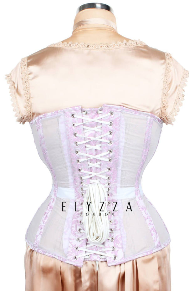Mesh with Brocade Custom Made Waist Training Corset (ELC-701)
