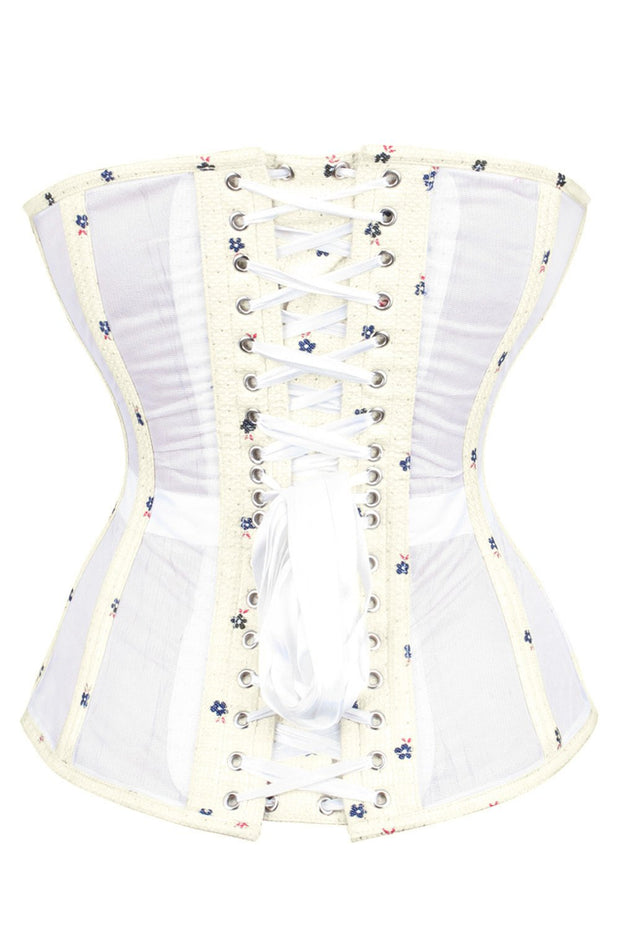 Sweet Heart Mesh with Brocade Waist Trainer Corset (ELC-701)