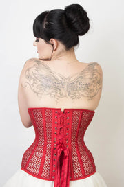 Mesh with Lace Overlay Custom Made Red Underbust Corset (ELC-102)
